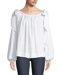 Haute Rogue - White Vera Cold-shoulder Balloon-sleeve Blouse - Lyst