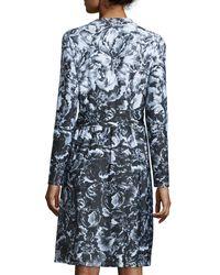 Kay Unger - Black Long-sleeve Floral-print Jersey Dress - Lyst