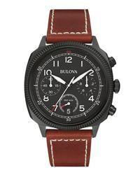 Bulova - Black 42.5mm Classic Men's Chronograph Watch W/ Leather Strap for Men - Lyst