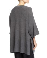 Eileen Fisher - Black 3/4-sleeve Luxe Wool Top - Lyst