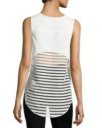 Neiman Marcus - White V-neck Openwork-mesh Blouse - Lyst