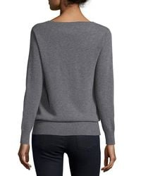 Neiman Marcus - Gray Long-Sleeved V-neck Relaxed-fit Cashmere Sweater - Lyst