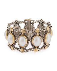 Konstantino - Metallic Silver & 18k Australian Mabe Pearl Link Bracelet - Lyst