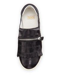 Ash - Black Instant Croc-embossed Zip-fringe Sneaker - Lyst