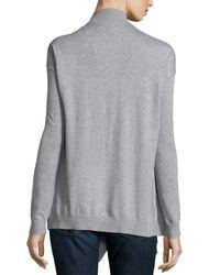 MICHAEL Michael Kors - Gray Zip-shoulder Flyaway Cardigan - Lyst