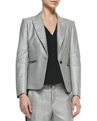 Rag & Bone - Gray Alpine Wool-blend Blazer With Zip Pockets - Lyst