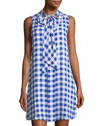 Cece by Cynthia Steffe - Blue Garden Check Neck-tie Dress - Lyst