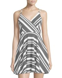 Romeo and Juliet Couture | Black Striped Strappy Sleeveless Dress | Lyst