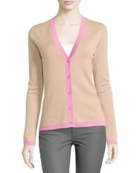 Michael Kors - Multicolor Long-sleeve Cashmere Cardigan With Contrast Trim - Lyst