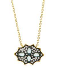 Freida Rothman | Blue Cz Crystal Shield Pendant Necklace | Lyst
