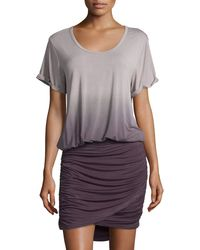 Young Fabulous & Broke - Gray Elise Short-sleeve Ombre Blouson Dress - Lyst