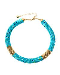 Fragments - Blue Multicolored Seed Bead Choker Necklace - Lyst
