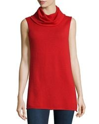 Neiman Marcus - Black Cashmere Sleeveless Cowl Sweater - Lyst