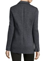 ATM - Gray Bonded Knit Speckled Blazer - Lyst