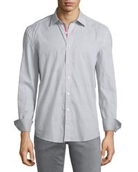 Bugatchi - Gray Shaped-fit Ombre-dotted Sport Shirt for Men - Lyst