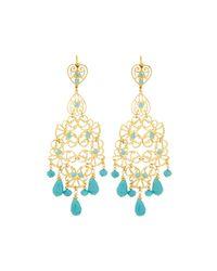 Jose & Maria Barrera | Metallic Golden Filigree Chandelier Earrings W/ Turquoise-hue Beads | Lyst