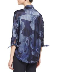 Armani - Blue Watercolor-print Satin Tunic - Lyst