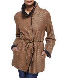 ESCADA - Brown Twin-face Herringbone Shearling Fur Jacket - Lyst