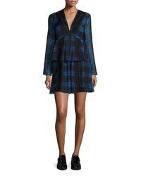 Thakoon Addition - Blue Tiered Plaid Silk & Lace Dress - Lyst