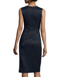 Shoshanna - Blue Sleeveless Metallic-stripe Sheath Dress - Lyst