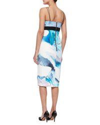 Nicholas - Blue Silk Watercolor Midi Dress - Lyst