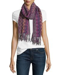 Missoni - Purple Chevron Fringe Scarf - Lyst
