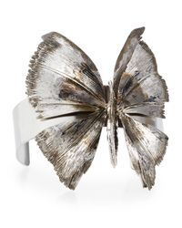 Valentino | Metallic Antiqued Silvertone Butterfly Cuff Bracelet | Lyst