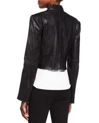Halston | Black Cropped Leather Jacket | Lyst