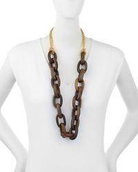 Kenneth Jay Lane - Multicolor Golden Chain & Chunky Wood Link Necklace - Lyst