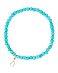 Tai | Blue Beaded Stretch Bracelet W/ Pave Wishbone Charm | Lyst