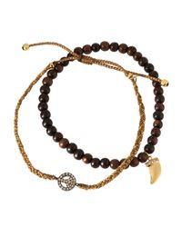 Tai - Brown Crystal Peace Sign & Talon Charm Bracelet Set - Lyst
