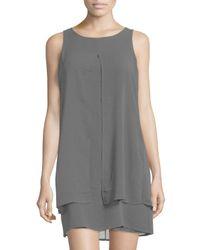 Neiman Marcus - Black Sleeveless Chiffon Dress - Lyst