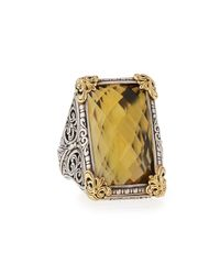 Konstantino | Metallic Silver & Gold Green Agate Band Ring | Lyst
