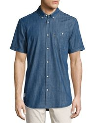 Wesc - Blue Orin Short-sleeve Denim Shirt for Men - Lyst