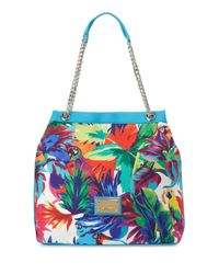 Love Moschino - Blue Jungle-print Canvas Tote Bag - Lyst