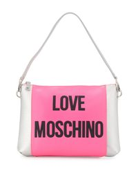 Love Moschino - Pink Love Saffiano Faux-leather Shoulder Bag - Lyst