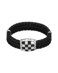 John Hardy - Black Men's Poleng Classic Chain Woven Leather Bracelet - Lyst