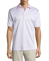 Peter Millar | White Striped Cotton Polo Shirt for Men | Lyst