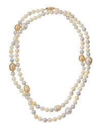 Belpearl | Brown Long Multicolor Akoya & South Sea Pearl Necklace | Lyst