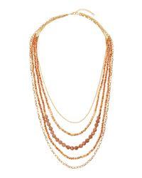 Panacea | Metallic Golden Multi-strand Beaded Necklace | Lyst