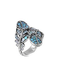 John Hardy - Blue Silver Feather Lava Sapphire Gradient Bypass Ring - Lyst