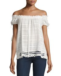 Max Studio - White Textured Gauzy Blouse - Lyst