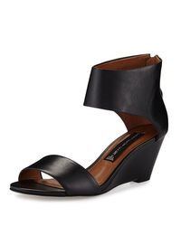 Steven by Steve Madden - Black Laynna Leather Wedge Sandal - Lyst