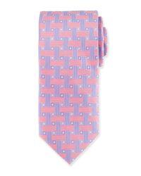 Peter Millar - Pink Geometric Print Silk Tie for Men - Lyst