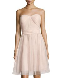 Marina - Pink Pleated Strapless Sweetheart Dress - Lyst