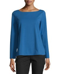 Lafayette 148 New York - Blue Bateau-neck Stretch-knit Top - Lyst