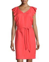 Carmen By Carmen Marc Valvo - Pink Ruffle-sleeve Linen-blend A-line Dress - Lyst