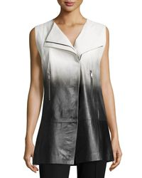 Lafayette 148 New York - Black Yuri Ombre Leather Vest - Lyst