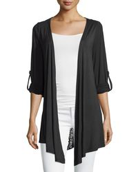 Neiman Marcus - Black Crochet-back Tab-sleeve Cardigan - Lyst