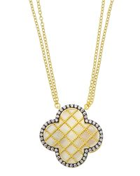 Freida Rothman | Metallic Double-strand Crystal & Mother-of-pearl Clover Pendant Necklace | Lyst